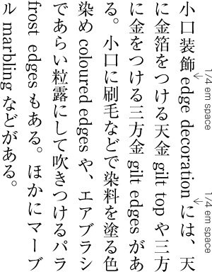 Requirements for japanese text layout example of a quarter em inter character space between hiragana katakana and ideographic characters spiritdancerdesigns Image collections