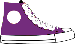 Purple high top trainer with white laces, empty white dot on outside ankle, and white toe cap